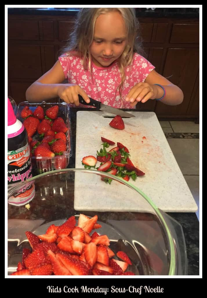Kids Cook Monday Noelle Cutting Strawberries