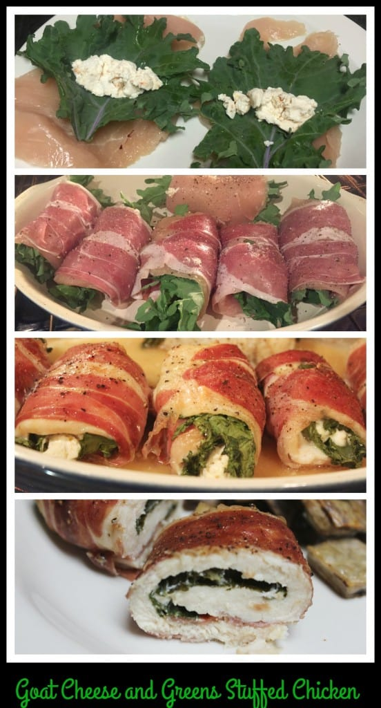 Goat cheese and greens stuffed chicken
