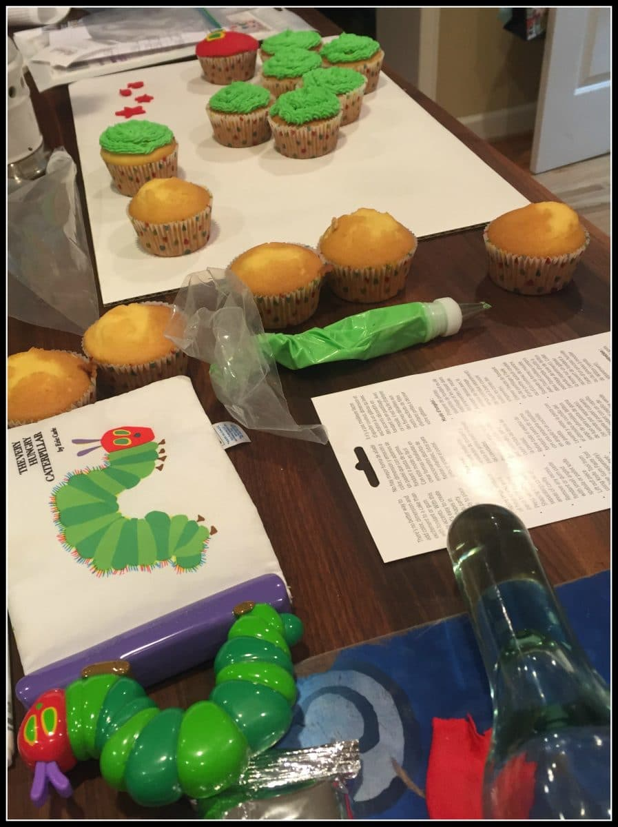 The Very Hungry Caterpillar Cupcakes In Progress