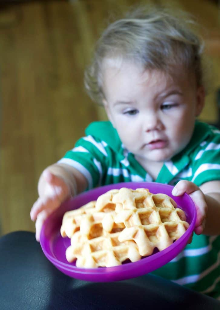 sweet potato waffles with baby