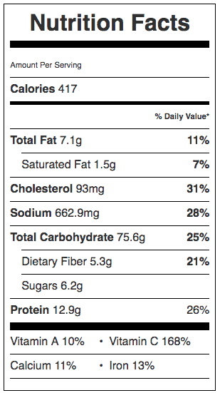Nutrition Label For Easy Pad Thai