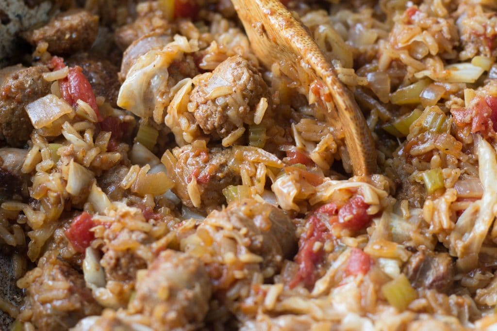 Cajun sausage and rice skillet || Erin Brighton | gluten free | easy dinner | one pot dinners | eat local | Got To Be NC