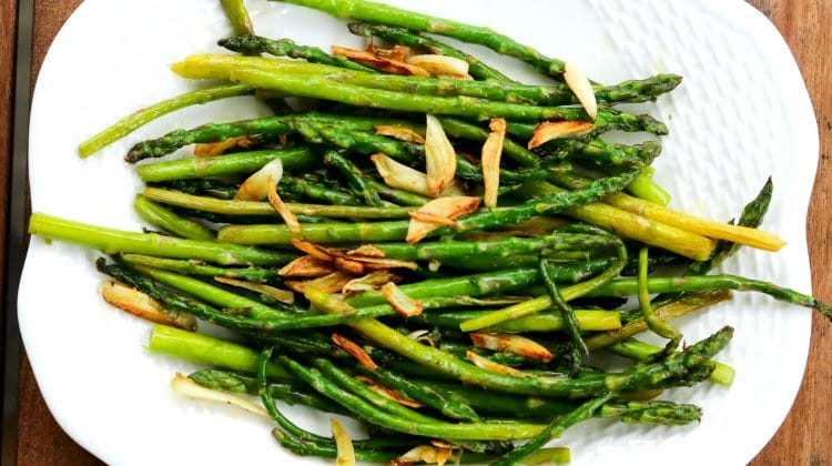 Baby Asparagus and Crispy Garlic