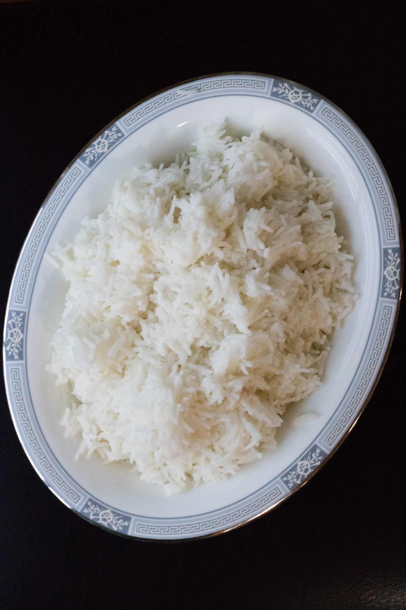 fluffy rice in pretty china