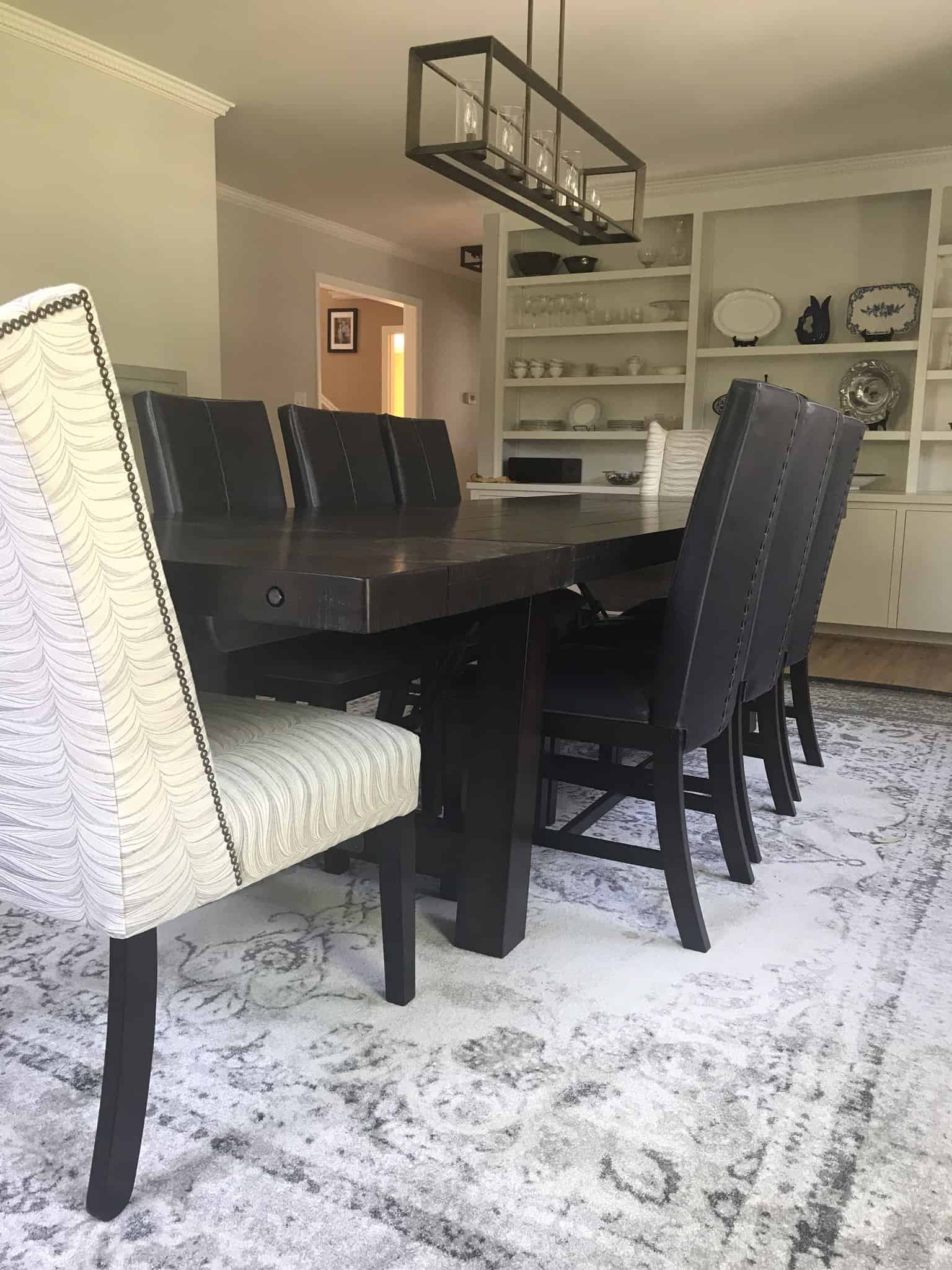 Long dining room table seats 10