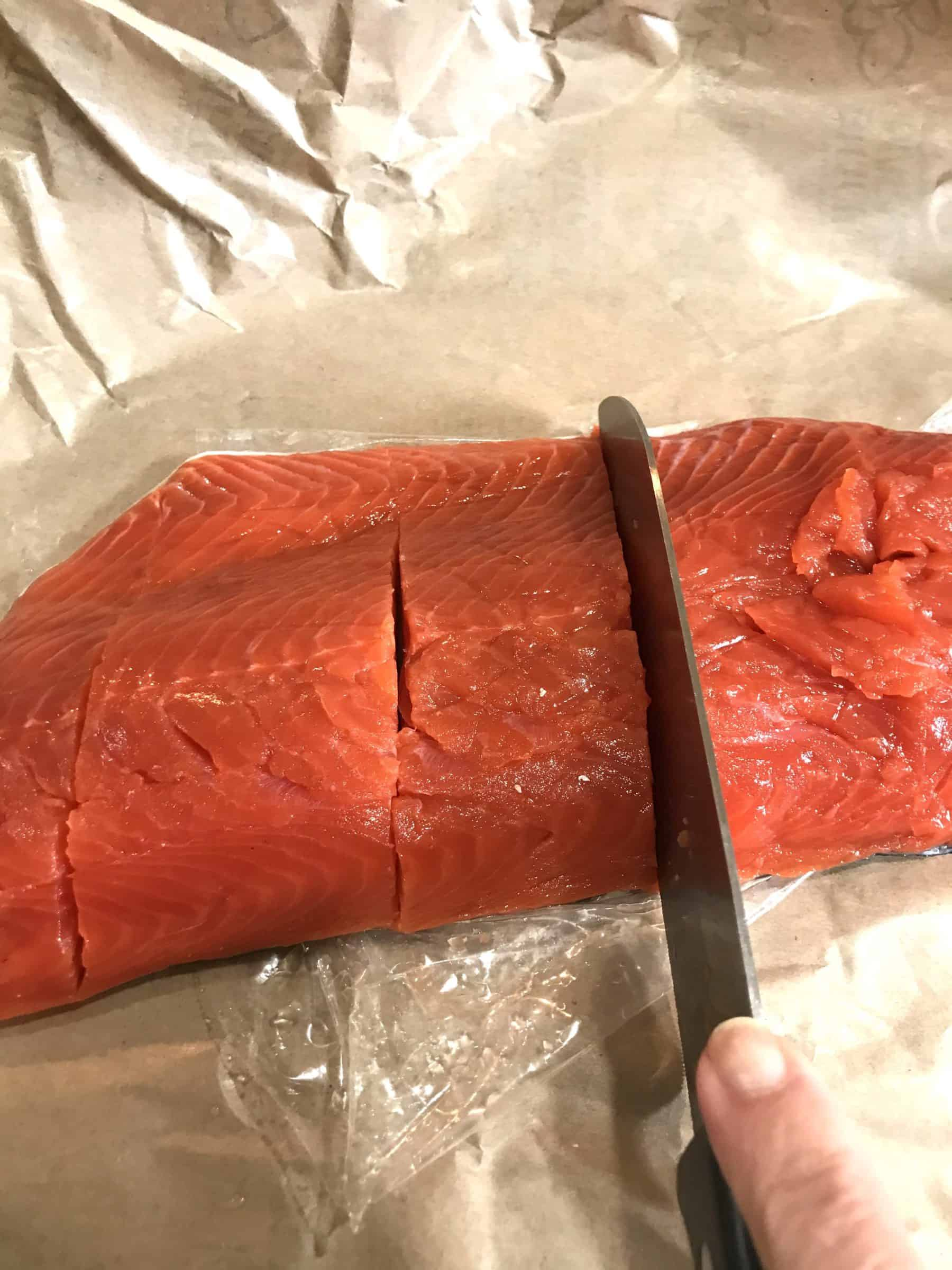 Cutting wild salmon