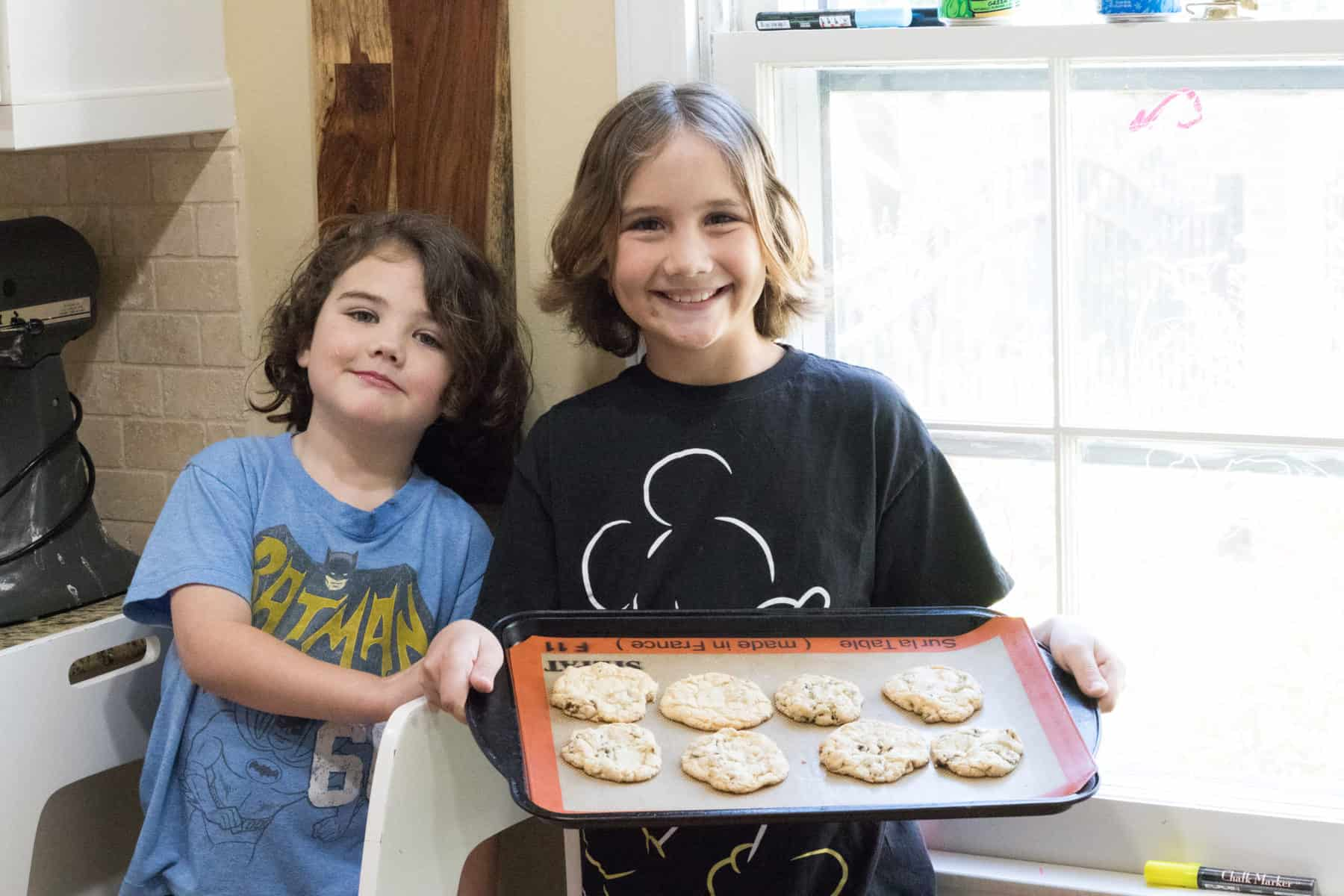the boys baking cookies
