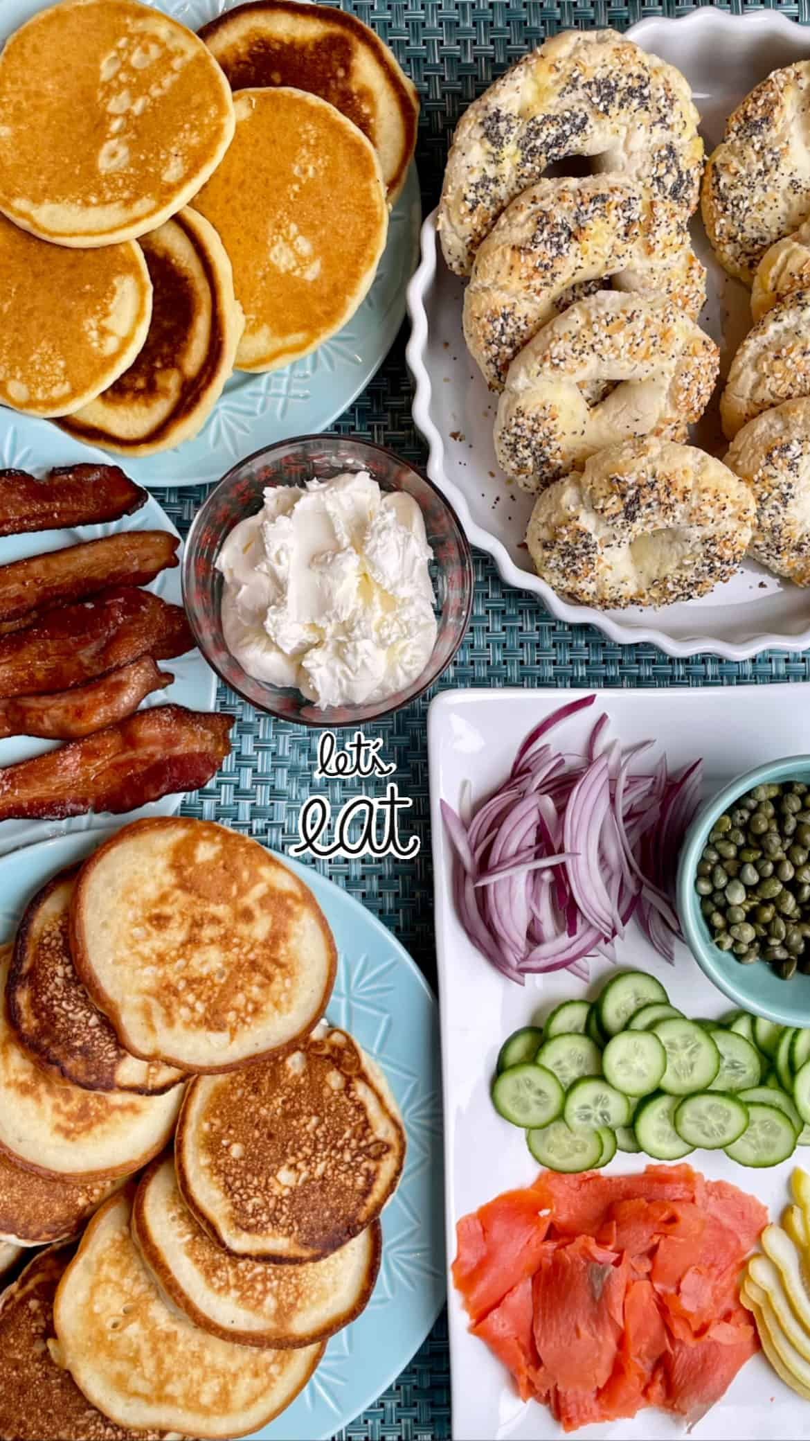 bagels and pancakes for christmas brunch