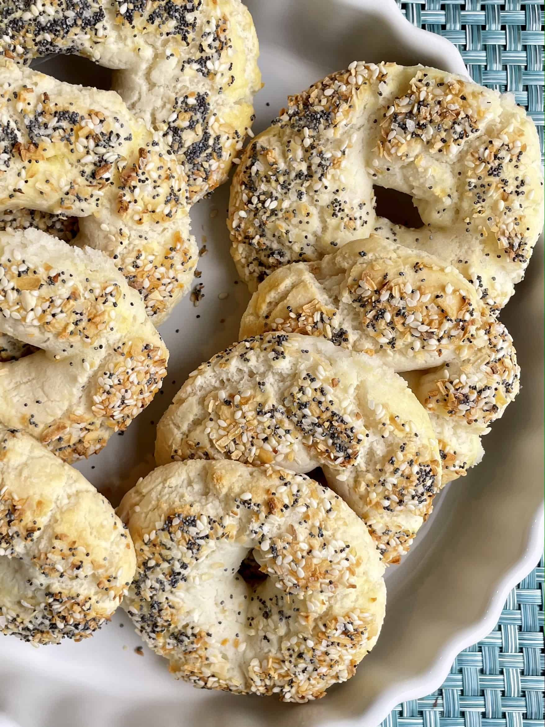 Two ingredient gluten free bagels in a dish
