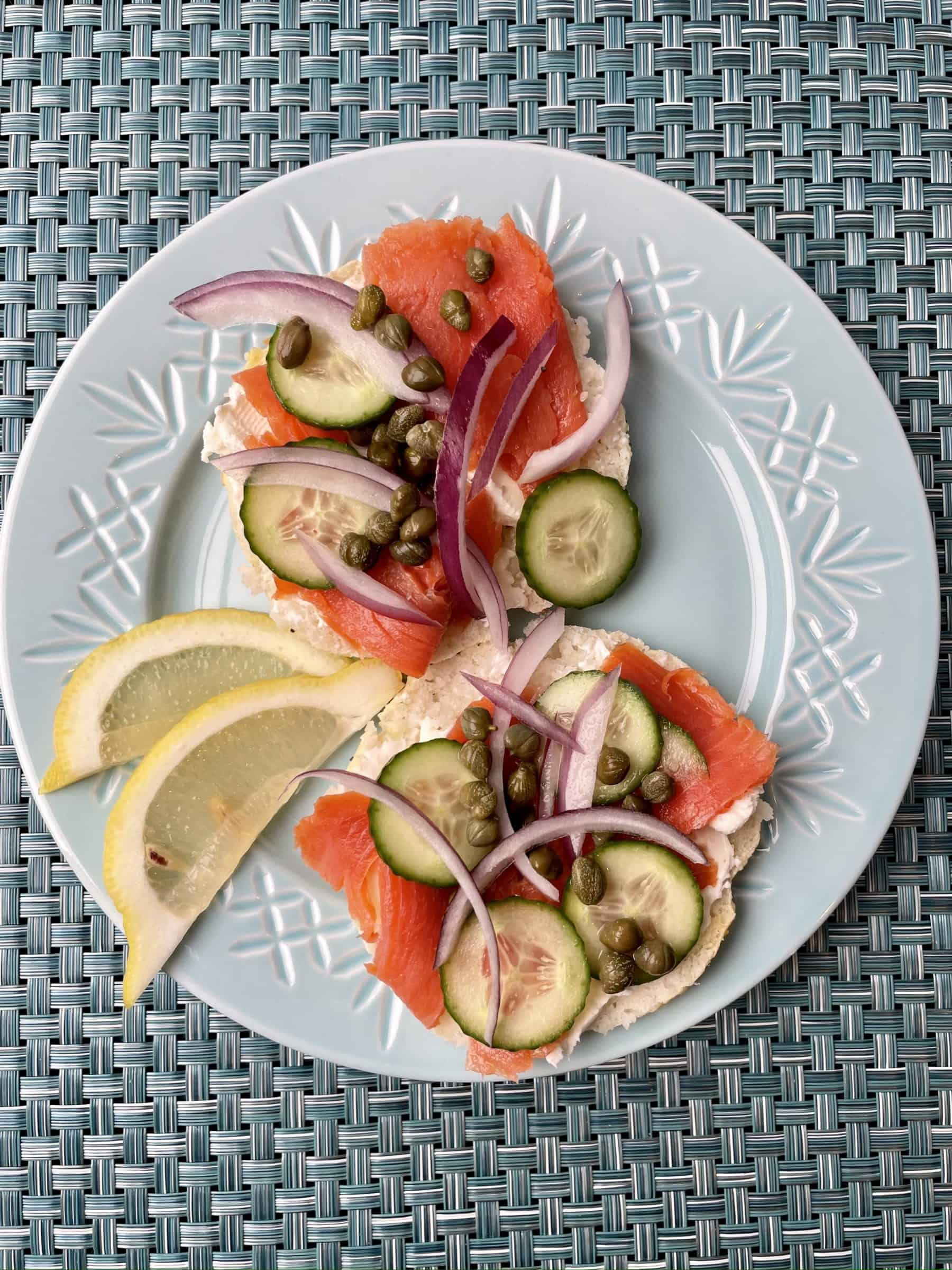 bagels with lox and toppings